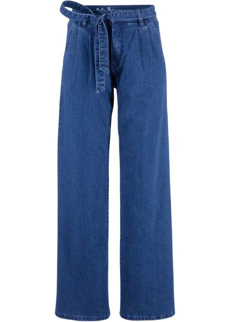 e690e12b Soft-stretch-jeans med høy midje og belte, Wide, John Baner JEANSWEAR