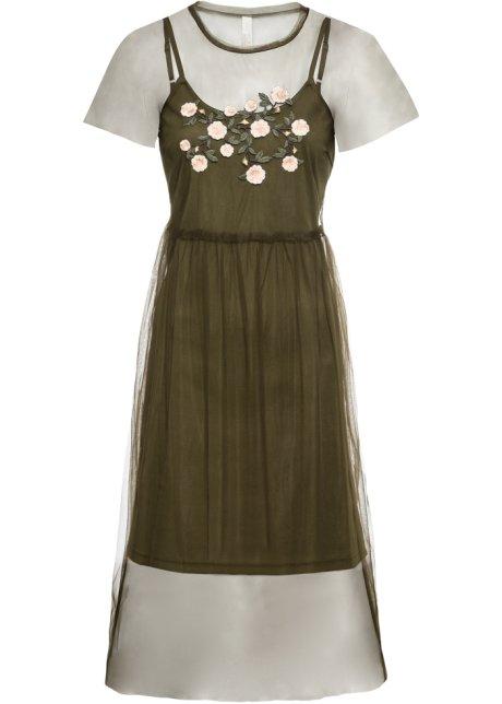 9dded13e Kjole med broderi mørk grønn - BODYFLIRT boutique bestill online ...