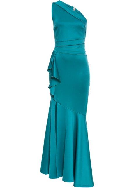bd6b3439 Lang kjole med volanger mørk grønn - Dame - BODYFLIRT boutique ...