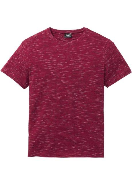Moderne T shirt i melert look mørk rød melert