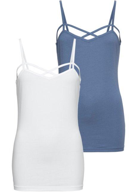fri leverans till salu ser bra ut försäljning Topp (2-pack) jeansblå/hvit - Dame - RAINBOW - bonprix.no