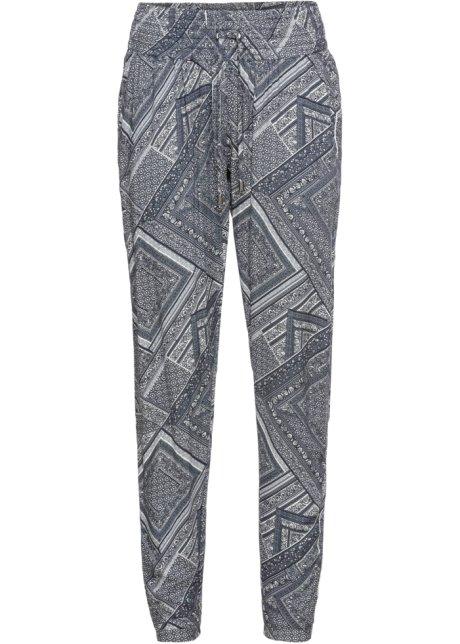 Bukse med folder og paisley trykk blågrå paisley