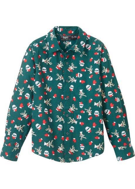Trendy langermet skjorte med julemotiv. Slim Fit dypgrønn