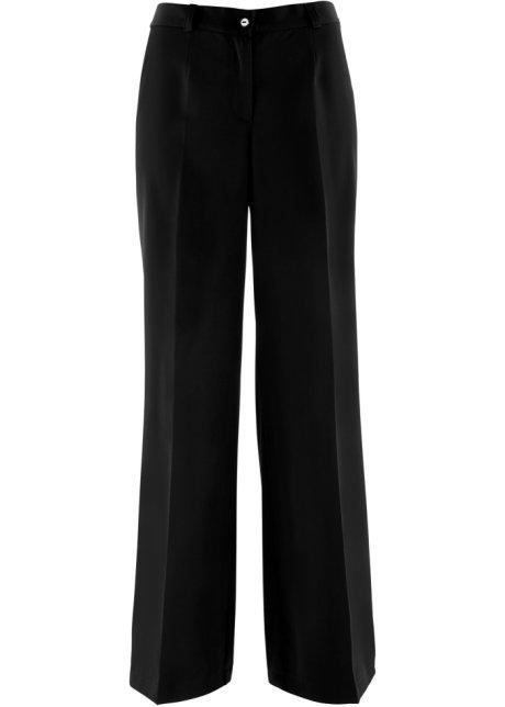 Lang bukse med elastisk linning og buksepress svart