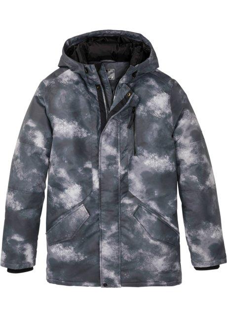 Trendy vinterjakke med allover trykk. grå mønstret