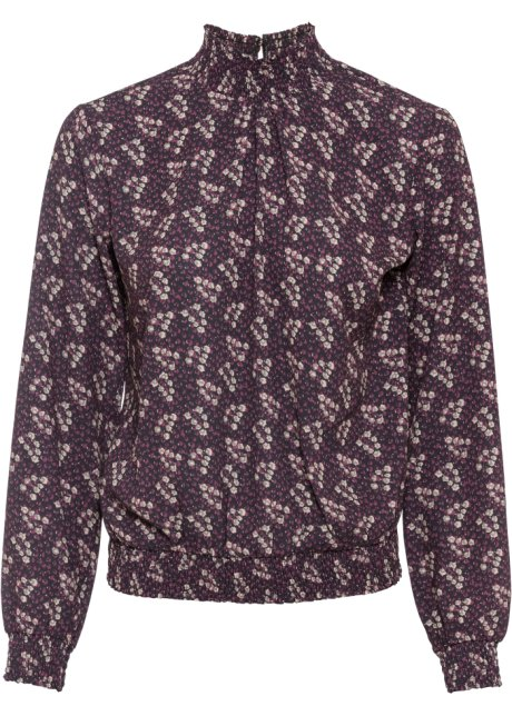 Bluse med vaffelsøm sortbær blomstret BODYFLIRT bestill