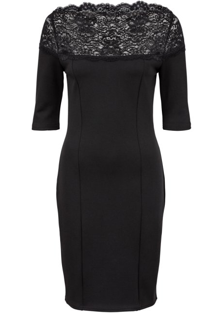 Jersey-kjole med blonder