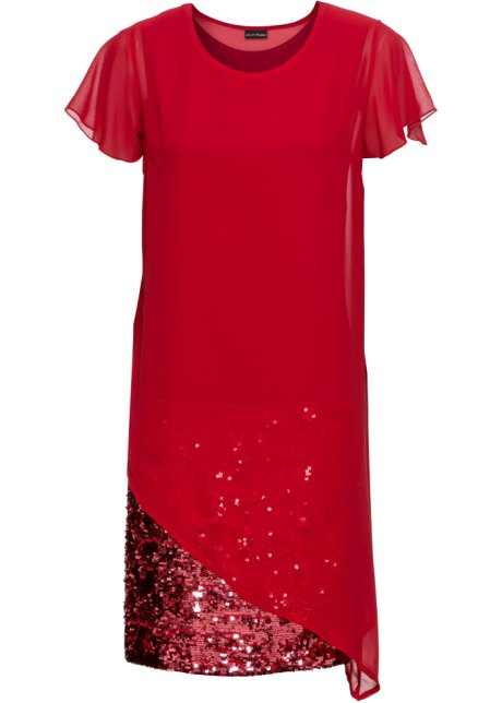 Coctail-kjole i jersey, med paljetter